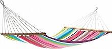 Dreams4Home Stabhängematte 'Jona IV' - Hängematte, ohne Gestell, ohne Zubehör, max. belastbar bis 160 kg, TÜV Rheinland geprüft, mit Spreizstab 140 cm, 100 % Jobek Textil Cord, B/L: 140 x 200 cm, gestreift, in grau / grün / pink