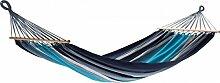 Dreams4Home Stabhängematte 'Orino I' - Hängematte, ohne Gestell, ohne Zubehör, max. belastbar bis 100 kg, TÜV Rheinland geprüft, mit Spreizstab 80 cm, 100 % Baumwolle, B/L: 125 x 200 cm, Garten, Gesamtlänge: 295 cm, gestreift, in blau