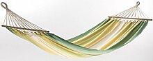 Dreams4Home Stabhängematte 'Orino III' - Hängematte, ohne Gestell, ohne Zubehör, max. belastbar bis 100 kg, TÜV Rheinland geprüft, mit Spreizstab 80 cm, 100 % Baumwolle, B/L: 125 x 200 cm, Garten, Gesamtlänge: 295 cm, gestreift, gelb / grün