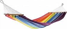 Dreams4Home Stabhängematte 'Rainbow' - Hängematte, ohne Gestell, ohne Zubehör, max. belastbar bis 120 kg, TÜV Rheinland geprüft, mit Spreizstab 80 cm, 100 % Jobek Textil Cord, B/L: 140 x 200 cm, gestreift, in bun