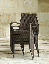 Dreams4Home Stapelsessel 'Aucki' - Sessel, Stuhl, Gartenstuhl, Terrassenstuhl, stapelbar, ohne Polster, aus Aluminium / Polyrattan, 60 x 56 x 88 cm, in bronze, Gartenmöbel