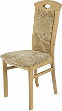 Dreams4Home Stuhl 'Napoli', 2er-Set, Esszimmerstuhl, Küchenstuhl, Holzstuhl, Stuhlset, braun, beige