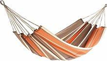 Dreams4Home Tuchhängematte 'Lesio III' - Hängematte, ohne Gestell, ohne Zubehör, max. belastbar bis 120 kg, B/L: 140 x 200 cm, TÜV Rheinand geprüft, 100 % Jobek Textil Cord, in orange / braun gestreif