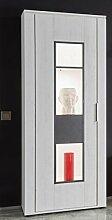 Dreams4Home Vitrine 'Curo II' - Schrank, Standvitrine, Glasvitrine, Aufbewahrung, Schrank, optional mit Beleuchtung, 1 Tür, 4 Einlegeböden, B/H/T: 68 x 172 x 37 cm, Wohnzimmer, Fernsehzimmer, modern, Pinie Weiss NB/Applikation Matera grau, Beleuchtung:3 er LED Spot weiß