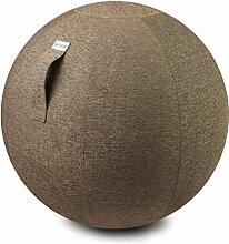 Dreams4Home VLUV STOV-Sitzball,Yogaball,Sitzball,Stoff-Sitzball,Gymnastikball,Fitnessball,Griff,Ø 60-65cm,Ø 70-75cm,100%,PVC Innenball,YKK Reißverschluß,inkl. 2 Ventile,1 Auto+Fahrrad Pumpenadapter,anthrazit,macchiato,greige,kiesel,petrol, Farbe:Macciato;Größe:Ø 60 - 65 cm