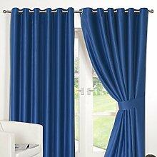 Dreamscene Blackout Luxus Vorhang mit Ösen, Blau,