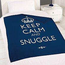 "Dreamscene - Fleece-Decke mit Schriftzug ""Keep Calm and Snuggle"" - Dunkelblau - 120 x 150 cm"