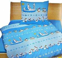 Dreamtex Kinder Fein-Biber-Bettwäsche Pinguin 135