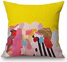 DreamyDesign Bunt Kunst Dekorative Reißverschluss Baumwolle Leinen Quadrat Bett Sofa Kaffeehaus Buchhandlung Kissenbezug