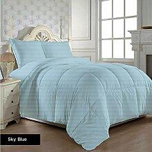 Dreamz bedding- 400Fadenzahl 300gsm UK Doppelbetten Sky Blau gestreift 100% ägyptische Baumwolle