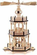 DREGENO Seiffen Pyramide mit Christi Geburt, Holz,