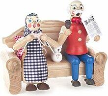 DREGENO Seiffen Räuchermann Opa mit Oma auf Sofa