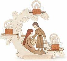 """DREGENO Teelicht-Halter Motiv """"Christi Geburt"""", Laubsäge-Arbeit aus Holz von DREGENO SEIFFEN – Original erzgebirgische Handarbeit, stimmungsvolle Weihnachts-Dekoration"""