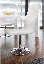 Drehbare Stühle in Weiß Kunstleder hoher Lehne