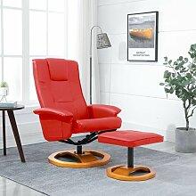 Drehbarer TV-Sessel mit Fu?hocker Rot Kunstleder