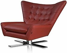Drehbarer V-förmiger Echtleder Ohrensessel Fernsehsessel Armlehnsessel Lounge Sessel. Abbildung in Leder Bordeaux Ro