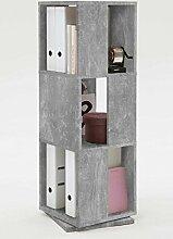 Drehregal, Regal, Ordnerregal, Bücherregal, Büroregal, Aktenregal, Beton-Dekor, 3 Fächer, 34/108/34 cm