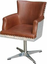 Drehsessel Witney Vintage Leder Aluminium Echtleder Sessel Columbia Brown hellbraun