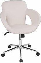 Drehstuhl mit Design-Drehkreuz Sanzaro Rollhocker Bürostuhl Schreibtischstuhl Arbeitshocker mit Armlehnen Wippmechanik Kunstleder Creme
