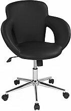 Drehstuhl mit Design-Drehkreuz Sanzaro Rollhocker Bürostuhl Schreibtischstuhl Arbeitshocker mit Armlehnen Wippmechanik Kunstleder Schwarz