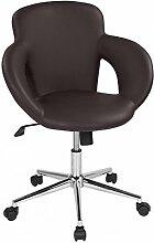 Drehstuhl mit Design-Drehkreuz Sanzaro Rollhocker Bürostuhl Schreibtischstuhl Arbeitshocker mit Armlehnen Wippmechanik Kunstleder Braun