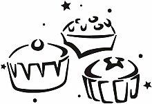 Drei Cupcake Küche Wandaufkleber Ausgangsdekor