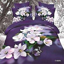 Drei design 3D Blatt Baumwolle K?per vier Set Deckel Set von 4 einzelne Betten Rosen , violet , 180*200cm