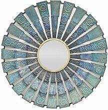 Drei Hände Zirkular Fan Metall Wand Spiegel–10in., metall, blau, Einheitsgröße