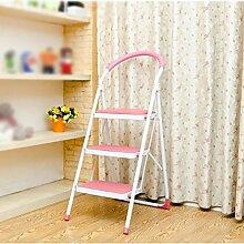 Drei Schritte Stuhl rutschfeste Leiter Hocker Falten 3-Stufen-Haushalt Pavillon Pedale Fischgräten Dual-Use-Indoor (Farbe : Pink)