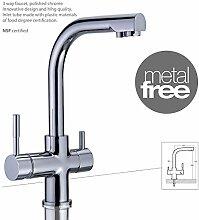 Drei-Wege-Wasserhahn MERCURY METAL FREE Chrom für AMWAY eSpring Wasserfilter geeignet ! Küchenarmatur , Spültischarmatur , Mischbatterie , Dreiwege Wasserhahn