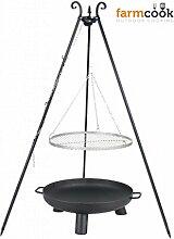 Dreibein mit Rost aus Edelstahl 50 cm und Feuerschale Pan 37 60 cm