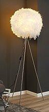 Dreibein Stehlampe Stehleuchte Standleuchte DUCKY 1 | ca. 150 cm hoch | Weiß | Papier | Entenfedern