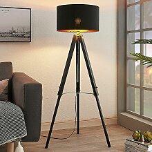Dreibein-Stehlampe Triac mit Holzgestell, schwarz