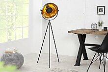 Dreibein Stehleuchte Schwarz Blattgold Optik 140cm