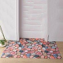 Dreidimensional Badezimmer Tür Badezimmer Duschen Rutschfeste Matte Bad Fußauflage , red , 40cm x 60cm