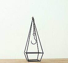 Dreieck Eisen Tisch Blume Rahmen Blume Korb Ornament kreative Familie Garten Blume Topf Kleiderbügel ( Farbe : Schwarz , größe : 14*14*38cm )