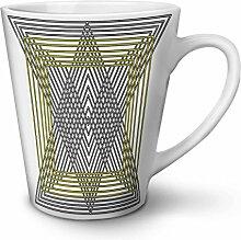 Dreieck Gestalten Weiß Keramisch Latte Becher 12 oz   Wellcoda