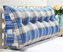 Dreieck Kissen / doppelte Bett Kissen / abnehmbare Bett mit großen Kissen ( Farbe : Blau , größe : 2 buckle -70*50*20cm )