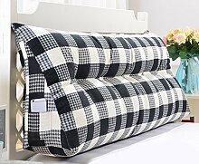 Dreieck Kissen / doppelte Bett Kissen / Bett mit großen Kissen / Nachttisch waschbar ( Farbe : Schwarz , größe : 6 buckle -180*50*20cm )