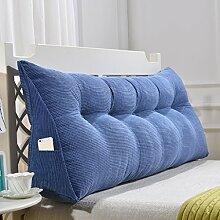 Dreieck Sofa Kissen Kissen Nachttisch weiche Tasche Bett Kissen Bett Rückenlehne Abnehmbar und waschbar ( Farbe : Blau , größe : 135*20*50cm )