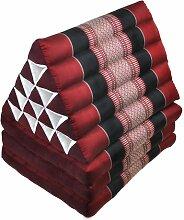 Dreieckskissen Thaimatte Yogamatte rot-schwarz