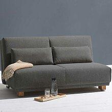 Dreier Sofa in Dunkelgrau Webstoff Schlaffunktion