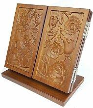 Dreifacher schminkspiegel,Retro holz geschnitzte tischspiegel mit standfuß Portable faltung kosmetikspiegel weihnachtsgeschenk-B