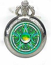 Dreifachmond Göttin Taschenuhr, Halskette mit