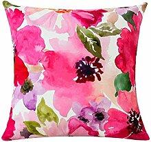 dreifarbig im europäischen Stil Sofa Kissen Aquarellzeichnung Flower Pattern Auto Kissen Bett Kissen 43* 43cm, a, Cushion (pp cotton)