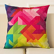 dreifarbig Nordic Magic Color Sofa Kissen Geometrische abstrakte Farbe Kissen Büro Sofa Kissen Auto Baumwolle Leinen Kissen 43* 43cm, F, Cushion (down filling)