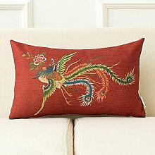 dreifarbig Retro Chinesischer Drache Kissen Big rot Hochzeit Bett Produkt eine Hochzeit Wohnzimmer Baumwolle Leinen Sofa Kissen Kissen 43* 43cm, C, Cover
