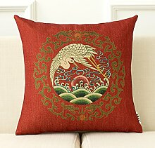 dreifarbig Retro Chinesischer Drache Kissen Big rot Hochzeit Bett Produkt eine Hochzeit Wohnzimmer Baumwolle Leinen Sofa Kissen Kissen 43* 43cm, Baumwolle / Leinen, B, Cushion(down filling)