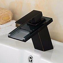 Dreifarbige Led-Badewanne Armatur Waschbecken Kaltes Wasser Temperaturregelung Verfärbung Des Drachen Glas Mit Lampe Glas Wasserfall Armatur