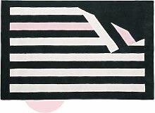 Dreifarbiger Wollteppich mit Streifenmuster